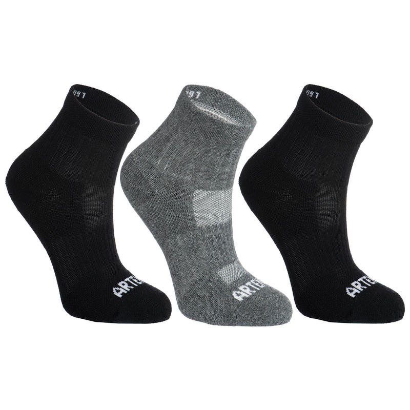 Kids' Mid Sports Socks RS 500 Tri-Pack - Black/Grey