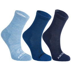 Kids' High Tennis Socks RS 160 Tri-Pack - Heathered Blue