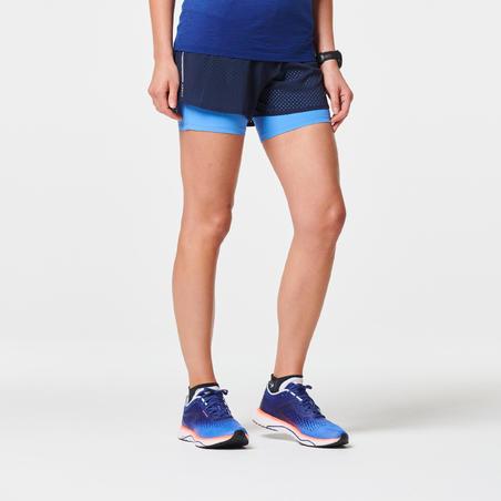 KIPRUN 2-IN-1 WOMEN'S RUNNING SHORTS WITH BUILT-IN TIGHT SHORTS - BLUE