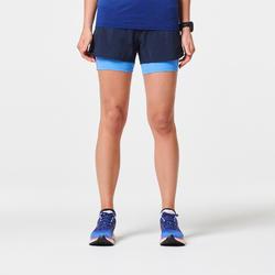 Hardloopshort voor dames met binnenbroekje 2-in-1 Kiprun blauw