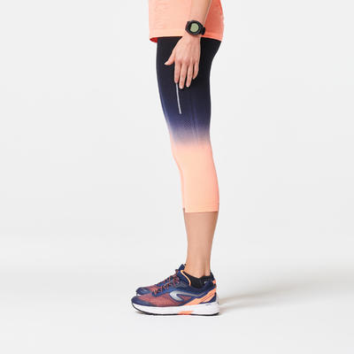LEGGINGS 3/4 RUNNING MUJER TRANSPIRABLE KIPRUN CARE NEGRO CORAL CLARO