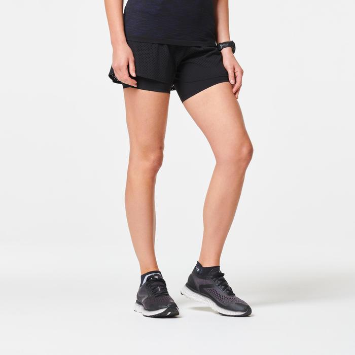 Quần short chạy bộ 2 trong 1 Kiprun cho nữ - Đen