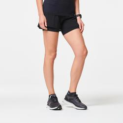 2合1女款跑步短褲搭配內襯緊身短褲KIPRUN - 黑色