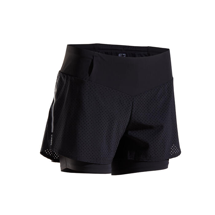 KIPRUN WOMEN'S 2-IN-1 RUNNING SHORTS WITH BUILT-IN TIGHT SHORTS - BLACK