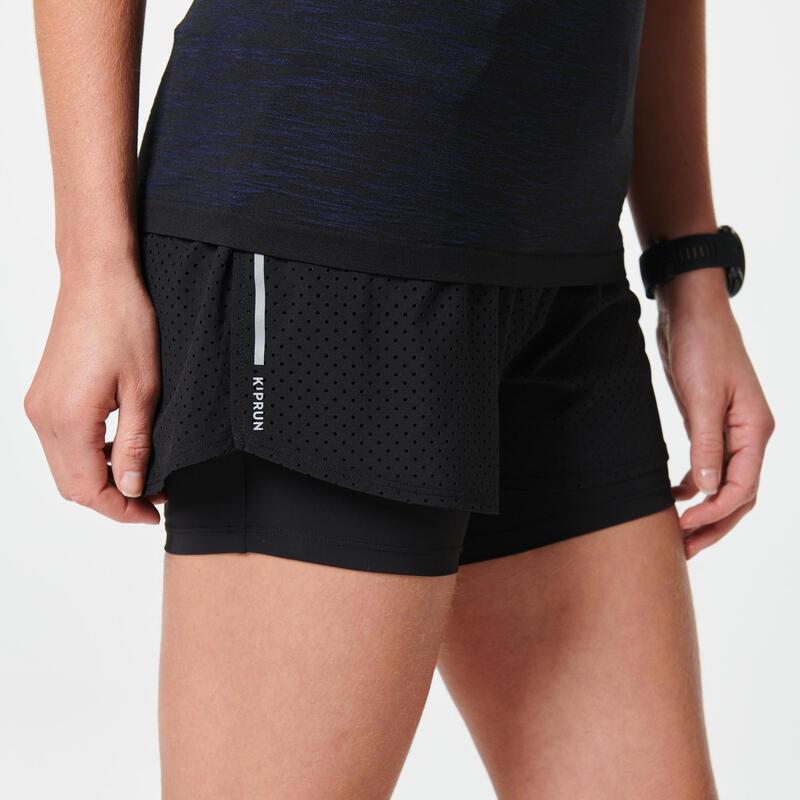 Pantalón Corto 2 en 1 Running Kiprun Mujer Negro Mallas Integradas