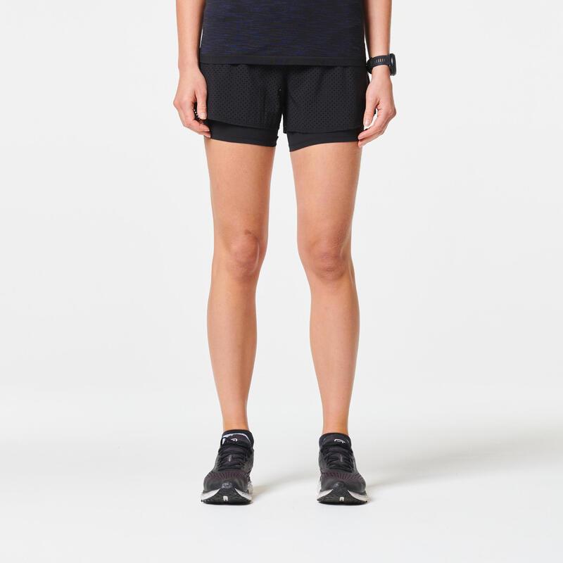 Kadın Siyah Taytlı Şort / Yol Koşusu - KIPRUN