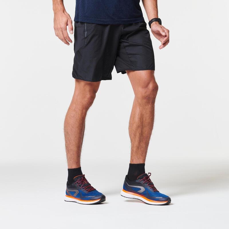 Pantalón Corto Running Kiprun Marathon Hombre Negro Transporte