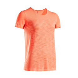 女款透氣跑步T恤KIPRUN CARE - 珊瑚紅