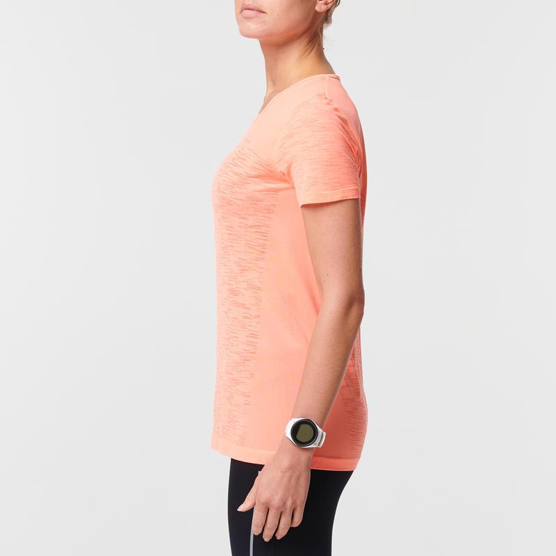 KIPRUN CARE WOMEN'S BREATHABLE RUNNING T-SHIRT - CORAL