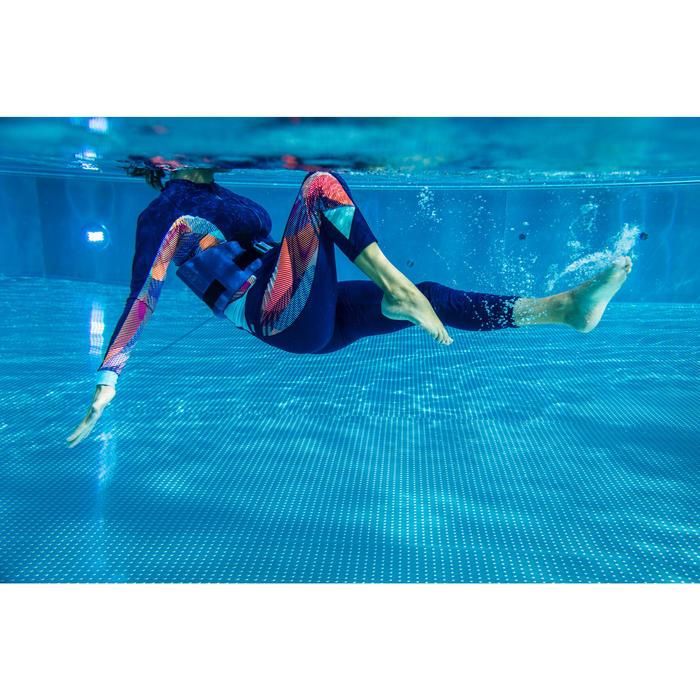 女款水中健身緊身褲藍色