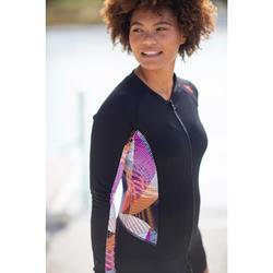 Top manches longues zippé d'Aquagym et d'Aquafitness femme vib noir