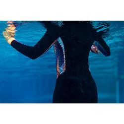 Shirt met rits en lange mouwen voor aquagym/aquafitness dames zwart
