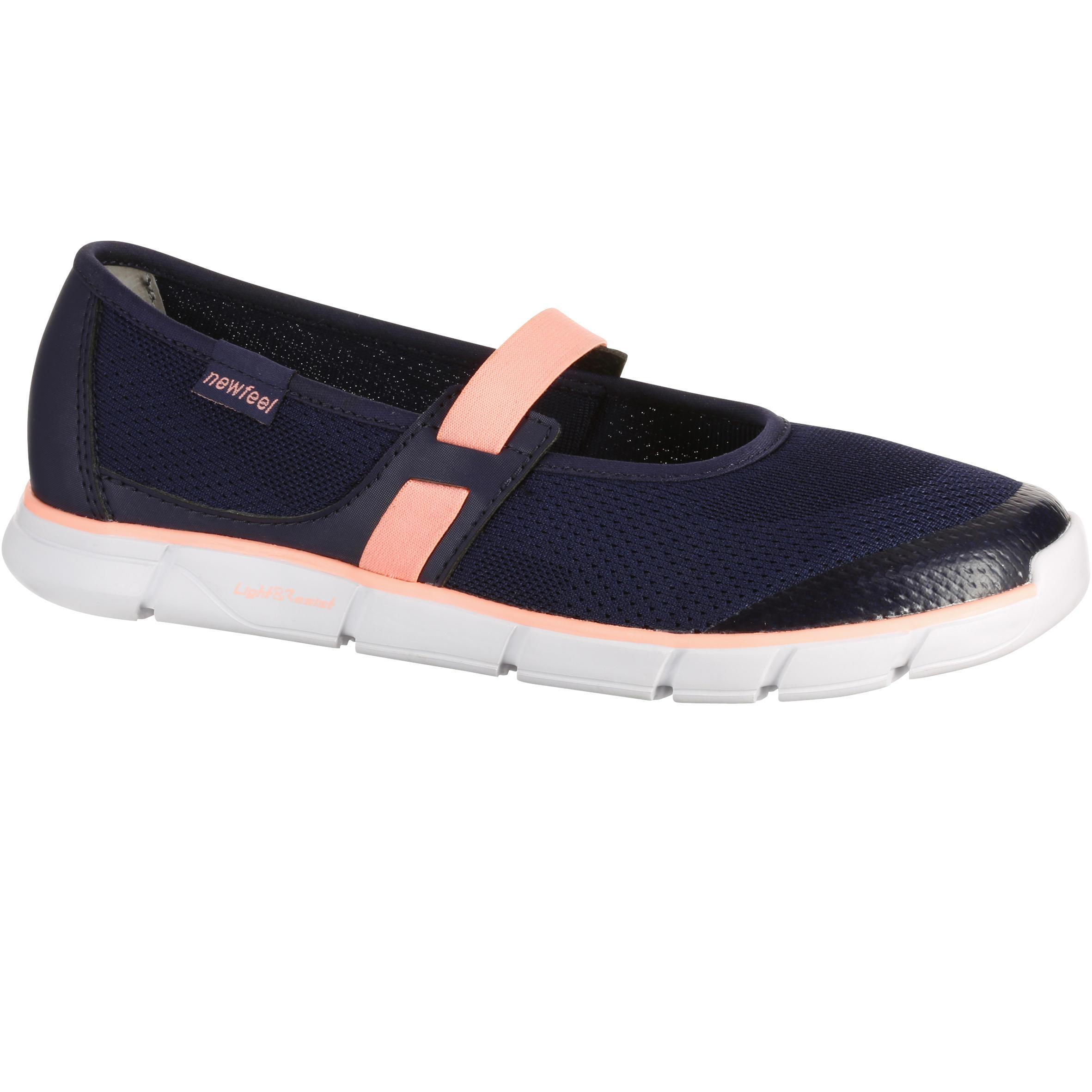 Newfeel Damesballerina's Soft 520 voor sportief wandelen marineblauw/koraal