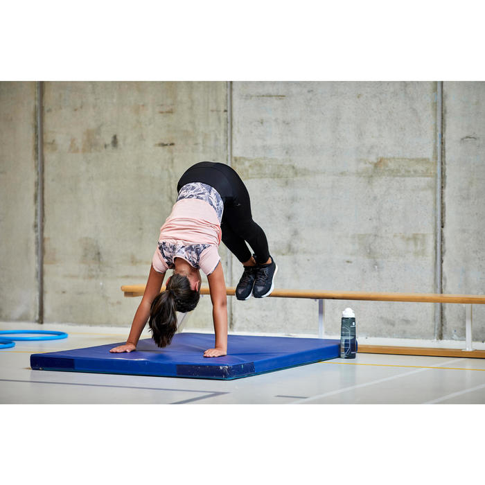 Ademend T-shirt met korte mouwen gym meisjes 500 katoen gemêleerd roze/grijs