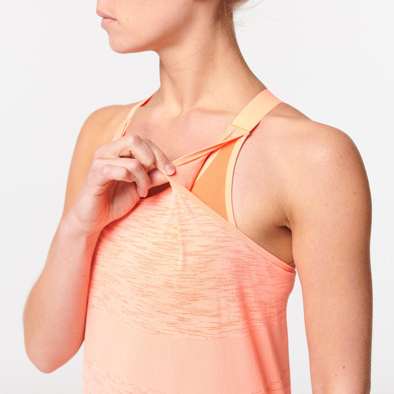 KIPRUN CARE RUNNING TANK TOP WITH BUILT-IN BRA - CORAL