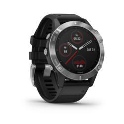 GPS-Multisportuhr Fenix 6 silber Armband schwarz