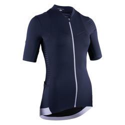 Fietsshirt met korte mouwen voor dames RCR marineblauw