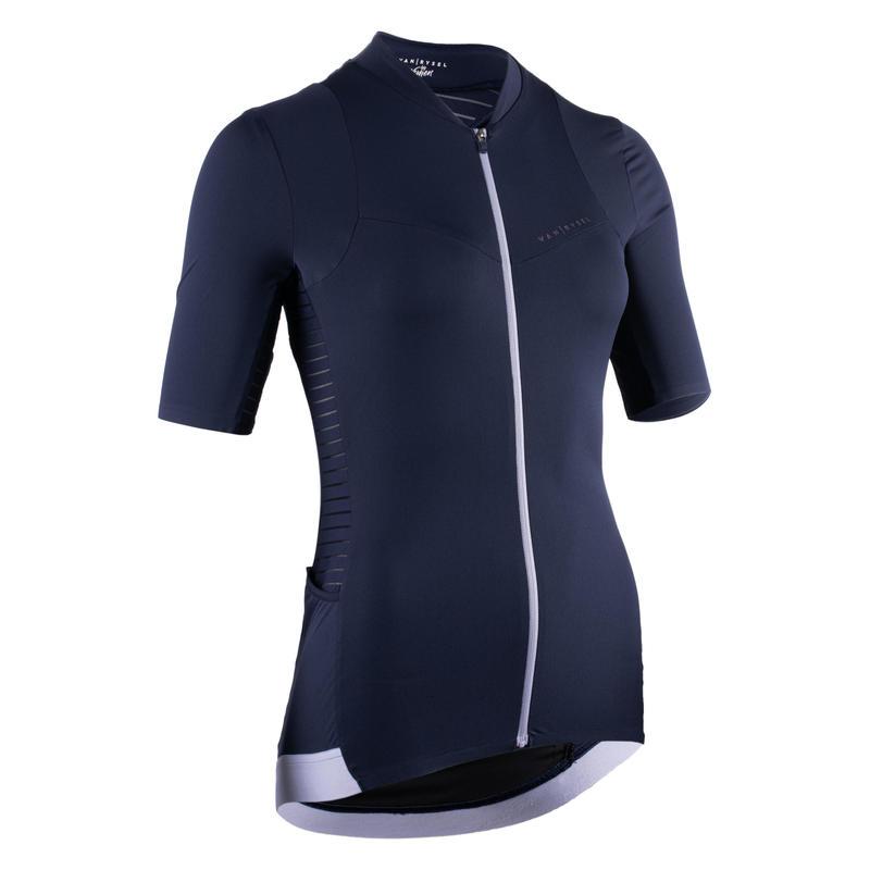 Damesfietsshirt met korte mouwen marineblauw