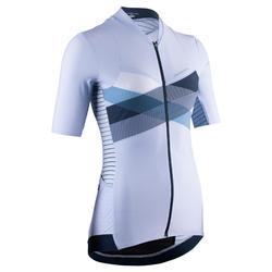Fietsshirt met korte mouwen voor dames RCR blauw kruis