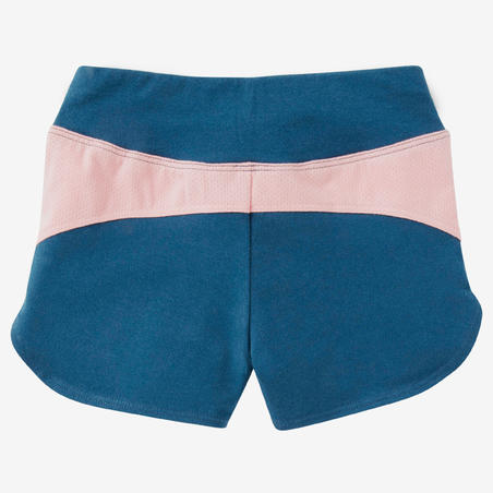 Baby Gym Shorts 500 - Petrol Blue/Pink