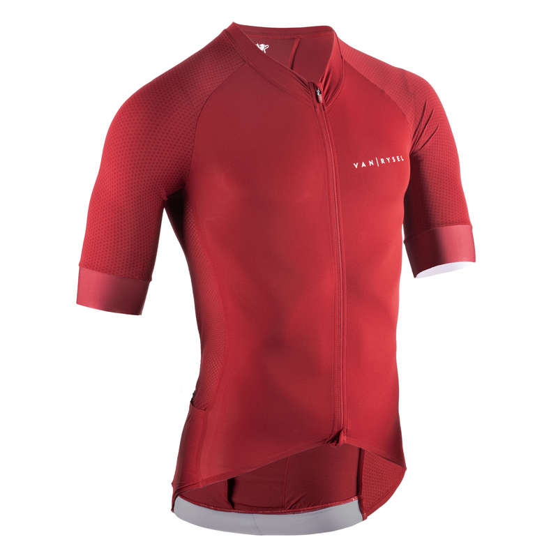 MEN WARM WEATHER ROAD RACING APPAREL Cycling - Jersey Racer - Red VAN RYSEL - Cycling