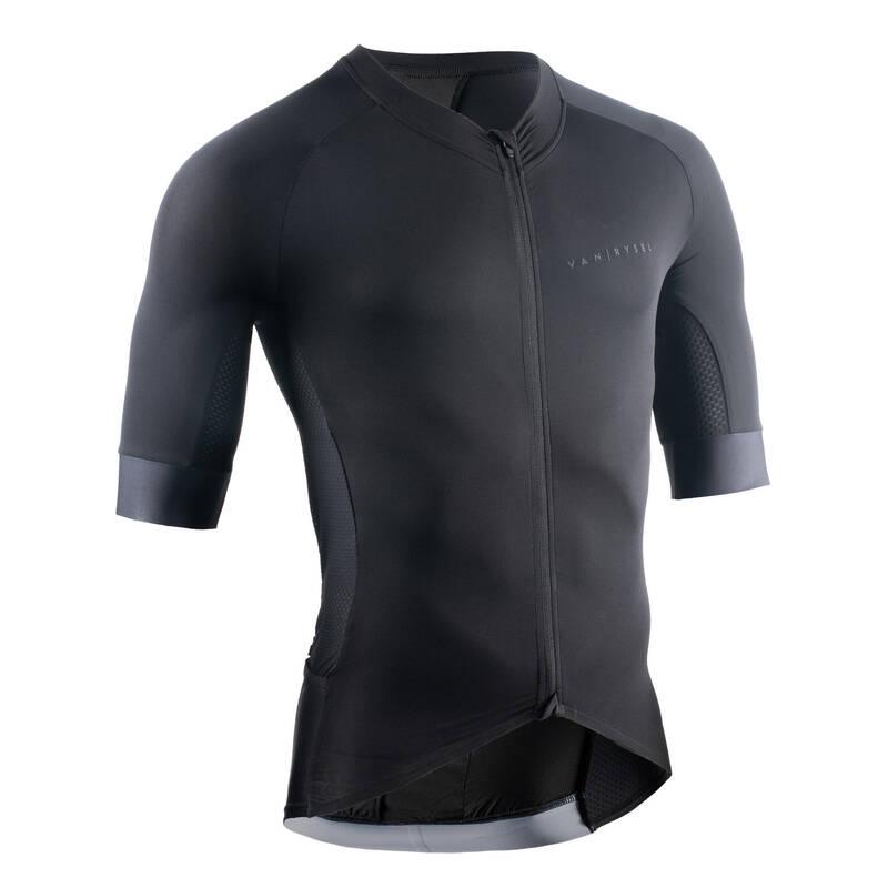 PÁNSKÉ OBLEČENÍ NA SILNIČNÍ CYKLISTIKU DO TEPLÉHO POČASÍ Cyklistika - CYKLISTICKÝ DRES RACER ČERNÝ VAN RYSEL - Helmy, oblečení, obuv