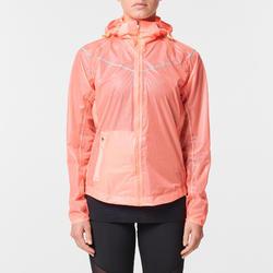 Regenjack voor hardlopen dames Kiprun Light koraalrood