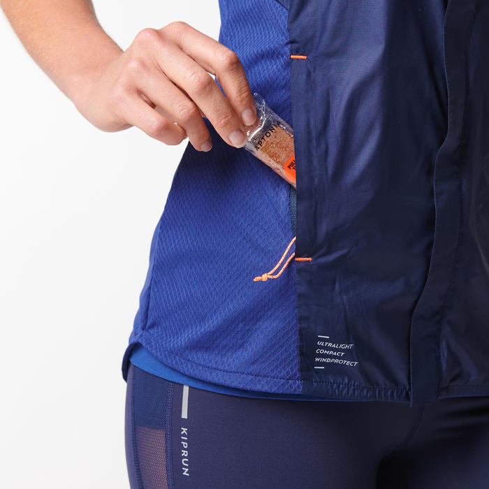 女款跑步無袖外套KIPRUN LIGHT - 軍藍色