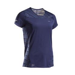 女款透氣跑步T恤KIPRUN LIGHT - 藍色
