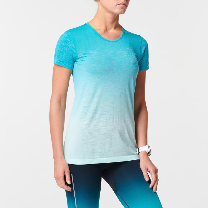 Camiseta Manga Corta Running Kiprun Care Transpirable Mujer Azul/Blanco