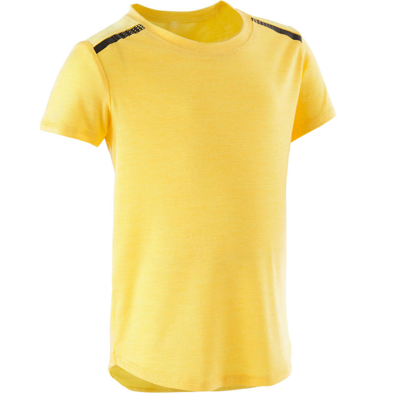Girls' and Boys' Baby Gym T-Shirt 500 - Yellow