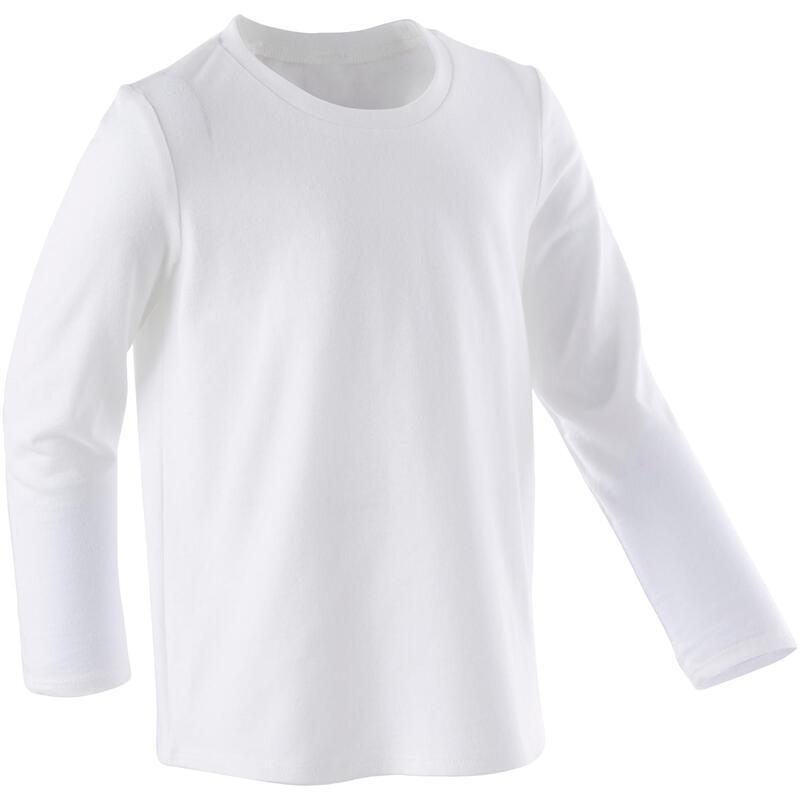T-shirt manches longues 100 Baby Gym fille et garçon Blanc