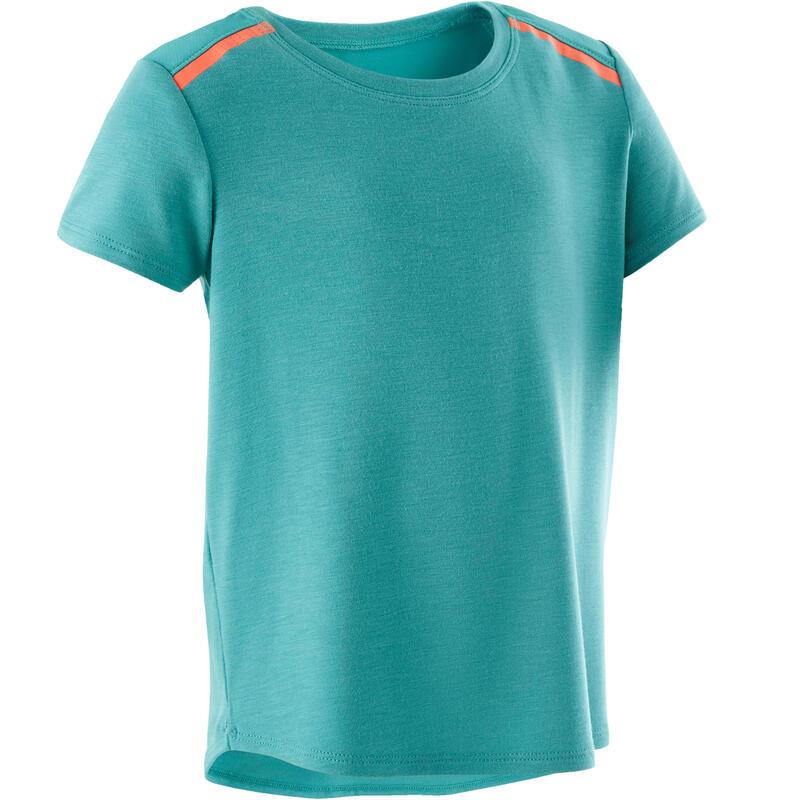 Camiseta Manga Corta Deportiva Gimnasia Domyos 500 Bebé Turquesa Transpirable