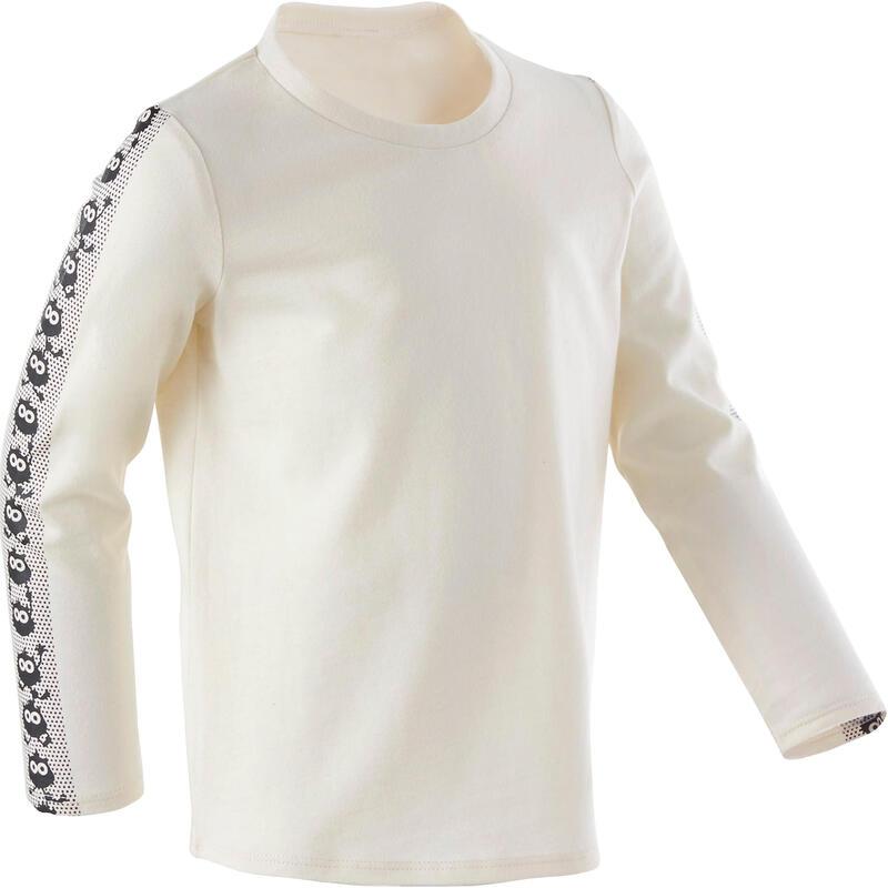 Dětské tričko 100 s dlouhým rukávem na cvičení béžové