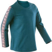 Girls' and Boys' Baby Gym T-Shirt 100 - Petrol/Pink