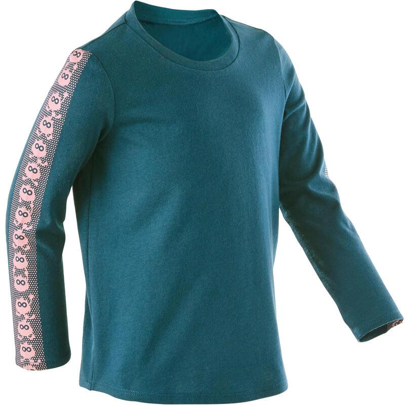 T-shirt manches longues 100 Baby Gym fille et garçon Petrol/Rose