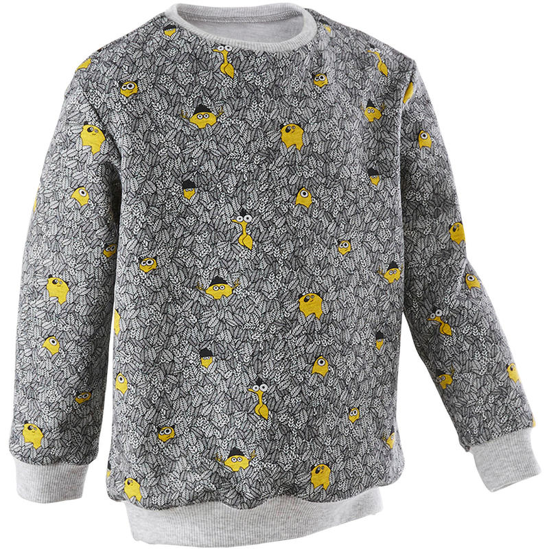 Girls' and Boys' Baby Gym Sweatshirt 100 - Grey AOP