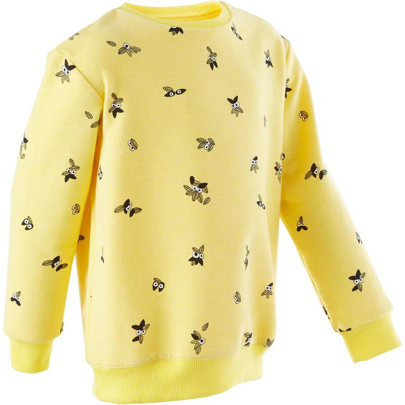 OBLEČENÍ CVIČENÍ PRO NEJMENŠÍ Cvičení pro děti - DĚTSKÁ MIKINA 100 ŽLUTÁ DOMYOS - Oblečení pro děti od 1 do 6 let