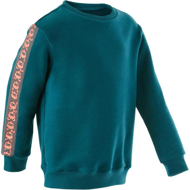 Kindersweater voor baby- en kleutergym Decat'oons blauw met print