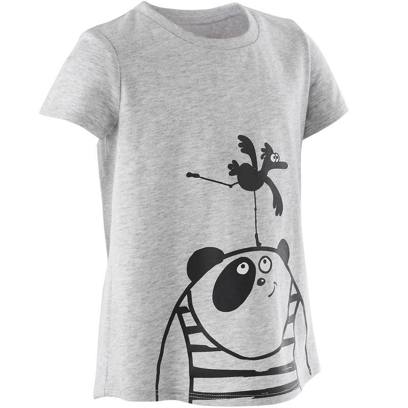 T-Shirt Senam Bayi Perempuan dan Laki-laki 100 - Abu-abu Motif