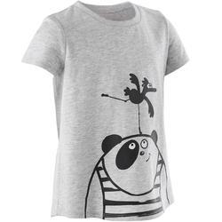 T-shirt voor kleutergym 100 grijs met print