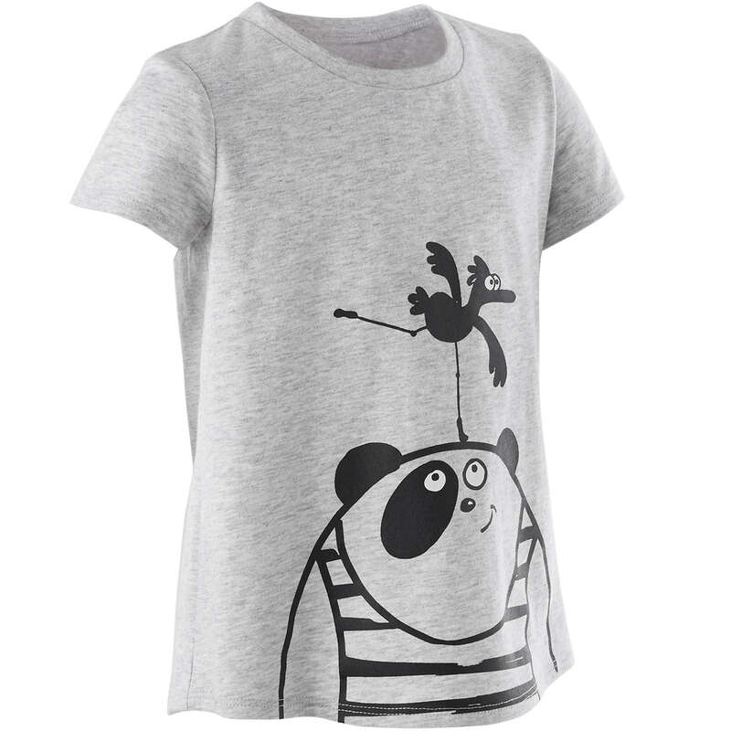 OBLEČENÍ CVIČENÍ PRO NEJMENŠÍ Cvičení pro děti - DĚTSKÉ TRIČKO 100 ŠEDÉ DOMYOS - Oblečení pro děti od 1 do 6 let