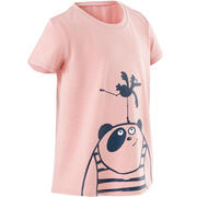 Girls' and Boys' Short-Sleeved Baby Gym T-Shirt 100 - Pink