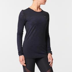 Ademend hardloopshirt met lange mouwen voor dames Kiprun Care zwart/blauw
