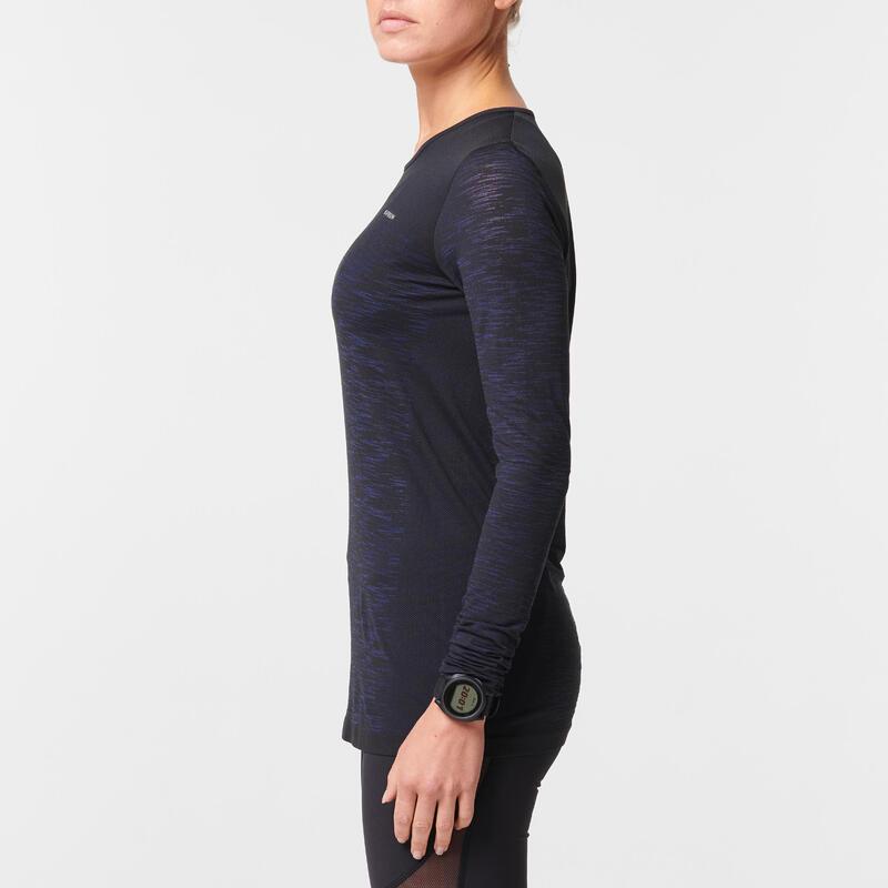 Camiseta Running Kiprun Care Mujer Negro Azul Manga Larga Transpirable