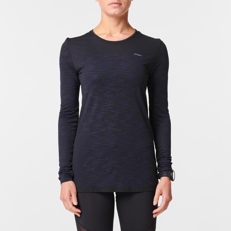 KIPRUN CARE WOMEN'S RUNNING BREATHABLE LONG-SLEEVED T-SHIRT BLACK/BLUE