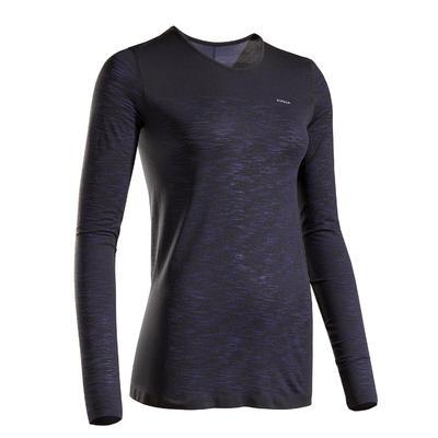 Kiprun Ademend hardloopshirt met lange mouwen voor dames Kiprun Care zwart/blauw