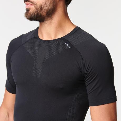 迪卡儂男款無縫透氣跑步緊身T恤