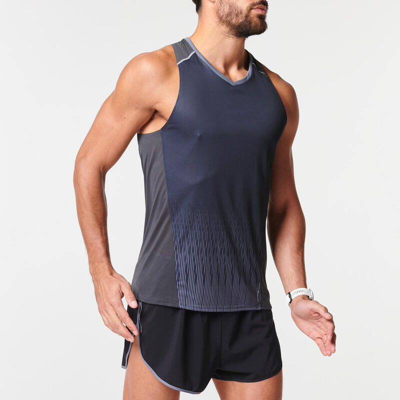 KIPRUN MEN'S BREATHABLE RUNNING TANK TOP LIGHT - BLACK