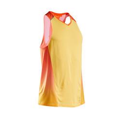 Ademend mouwloos hardloopshirt voor heren Kiprun Light rood/oranje